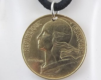 1991 French Coin Necklace, 20 Centimes, Coin Pendant, Mens Necklace, Womens Necklace, Leather Cord, Vintage