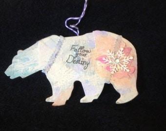 Handmade Polar Bear Christmas Ornament-Mixed Media Polar Bear Collage Art Ornament-Art Wall Hanging-Follow Your Destiny Unique Painting