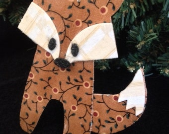 Fabric Fox Ornament Hanging- Foxes Mixed Media Decoration Ornament- Christmas Ornament-Fox Gift Tag-Woodland Gifts and Decor-Collage Foxes