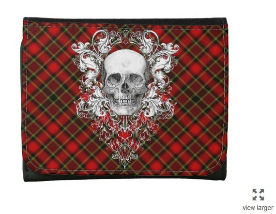 Punk Red Plaid Skull style Wallet