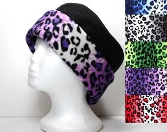 Ombre Cheetah Print Brim and Black Fleece Hat Ladies Warm Hat Winter Hat Animal Print Hat Womens Fleece Hat Blue Gray Grey Green Purple Red