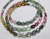 TOURMALINE - 18 inches Full Strand - AAAA - High Quality So Gorgeous Multy Colorful Smooth Polished Oval shape Beads size - 6 - 8 mm