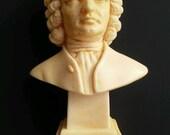 "Vintage Alabaster John Sebastian Bach Bust Made in Italy marked GR 4 1/4"" Tall"