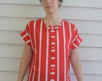 Red White Striped Blouse 80s Retro Top Vintage 1980s S M