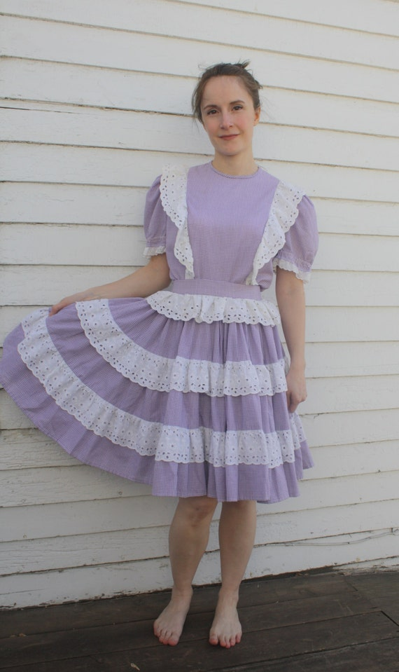 Square Dance Outfit Country Western Gingham Vintage Skirt