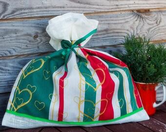 White Red and green Linen Favor Gift Bag, Linen Christmas Sachet, Large Gift Bag, Handmade Linen Bag, Rustic Decor