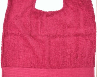 Burgundy Egyptian Cotton Adult Bib,Adult Clothing Protector,Absorbent,Egyptian Cotton Terry Cloth, Designer Adult Clothing Protector