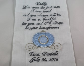 Personalized - Father of the Bride - Embroidered - Wedding Handkerchief - Princess Carriage -  Simply Sweet Hankies