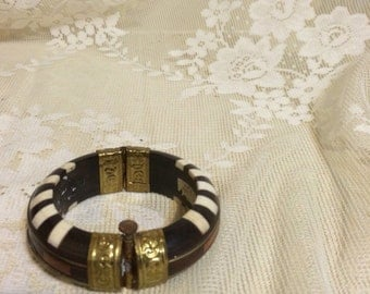 Horn and Brass  Inlay Bracelet