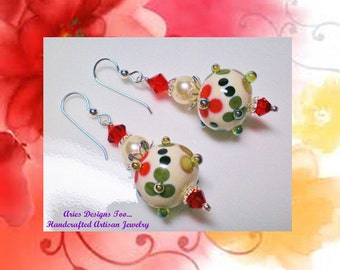 Red ,Green and Cream  Bumpy Floral Lampwork Earrings, Red,Green & Cream Drop Earrings