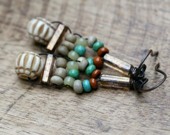 Rustic Beaded Wire Wrapped Macrame earrings a23 - neutral colors , earthy colors , green beige , cylinder glass , solid copper , carved bone