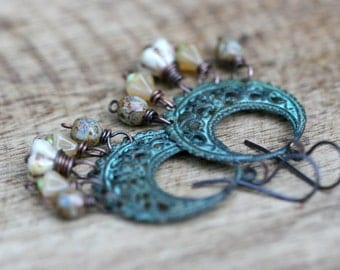 Boho Rustic Verdigri Patina Half Moon earrrings a 35 - greenish color , Czech glass beads , wire wrapped , roudn arabesques , light weight