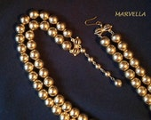 MARVELLA Double Strand Metallic gold tone Necklace adjustable Choker round beads Designer vintage