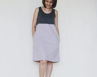 Cream brown spandex - Cotton Tank Dress
