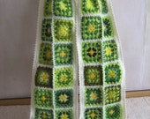 Granny square scarf, crochet shawl, unique design, warm, colorful, hippie style, green and white, handmade, bohemian, patchwork,gorgeous,