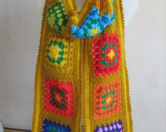 Granny square scarf, crochet, warm, long, golden yellow, colorful shawl, handmade, patchwork, unique design,lady gift, gorgeous,hippie style