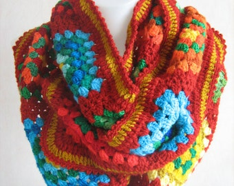 The different red granny square scarf,warm,long shawl,winter,gorgeous,lady gift,handmade,patchwork,hippie style