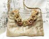 Evening Bag - Designer Bag - Singed Flower Gold Silk Evening Bag - Evening Shoulder Bag with Beaded Flowers - Chic Prom Purse