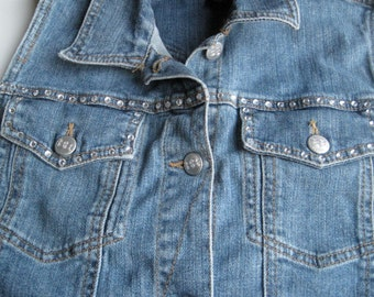Bit and Bridle rhinestone studded jean Vest