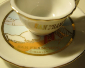 San Francisco cup and saucer with Golden Gate Bridge-vintage