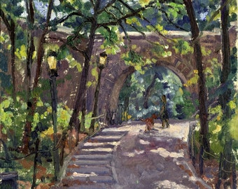 Shady Path near the Cloisters, Fort Tryon Park, NYC. Oil Painting Landscape, Original 8x8 Plein Air Impressionist Signed Original Fine Art