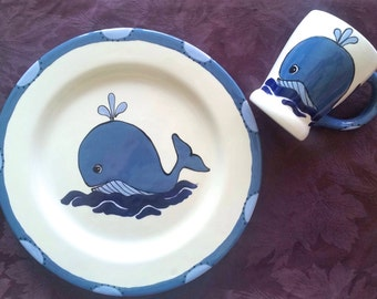 Whale Plate and Mug set - Birthday gift - New Baby Gift - newborn baby - child gift -  birth plate - christmas gift - Whale