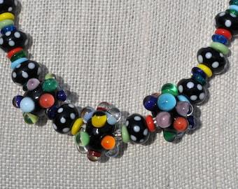 Rainbow Lampwork Polka Dot Necklace