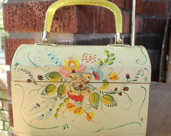 Vintage Hand Painted Tole Style Wood Purse