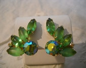 Vintage Juliana Earrings Green Rhinestones Frosted Glass Stones Clips FREE SHIPPING
