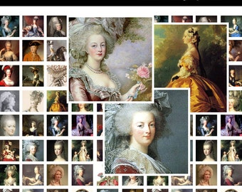 Marie Antoinette Digital Collage Sheet (No. 187 - 1 Inch Square Tiles for Glass Pendants, Magnets, and More