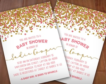 SPARKLE BABY SHOWER Invitation in pink and gold