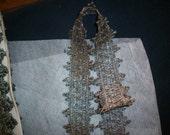 Metallic dark antique silver trim, old store stock, yardage