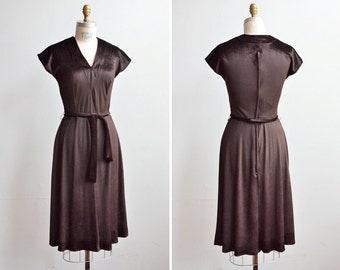 SALE / Vintage 1970s PAUL POLY chocolate velour day dress