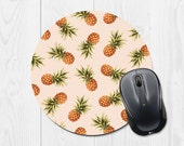 Office Accessories - Round Mouse Pad - Pineapple Mouse Pad - Pink Mouse Pad Pastel Mouse Pad Tropical Mouse Pad - Mousepad - Office Decor