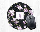 Gift for Mom Mouse Pad Monogram Floral Mouse Pad Round Mouse Pad Cute Mouse Pad Mousepad Monogram Mousepad Floral Office Desk Accessories
