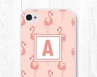 Monogram iPhone 6s Case - Personalized iPhone 5s Case - Cute iPhone 5 Case - Samsung Galaxy S6 Case - Custom Initial iPhone Case Flamingo