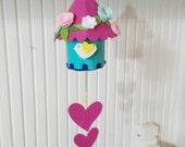 Colorful Felt Birdhouse Hanging, Ornament Pink