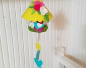 Colorful Felt Birdhouse Hanging, Ornament Yellow