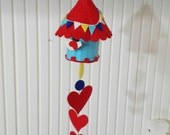 Colorful Felt Birdhouse Hanging, Ornament Red