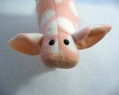 Piglet stuffed animal, fleece piggy, stuffed pig, pink polka dot