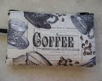 coffee vintage print large padded bag