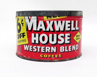 Mid Century Maxwell House Coffee Tin - Red and Yellow