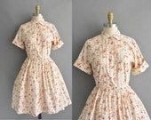 vintage 1950s dress / 50s orange and red floral cotton print vintage shirt dress