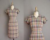 vintage 1950s dress / 50 plaid cotton dress / 50s wiggle dress