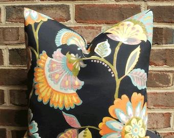 SALE ~ Decorative Outdoor Pillow: 18 X 18 Black Floral Outdoor Pillow Cover