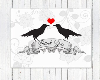 Gothic Ravens Kissing Thank You Card - Black and White Wedding - Instant Print at Home Invite