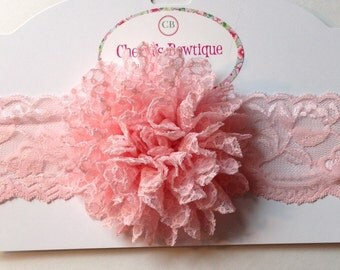Pink Shabby Flower Elastic Lace Headband, Infant, Toddler, Baby, photo prop