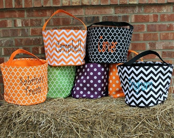 Personalized Halloween Baskets Buckets, Monogrammed, Chevron Dots, Large Capacity, Custom Made Embroidery