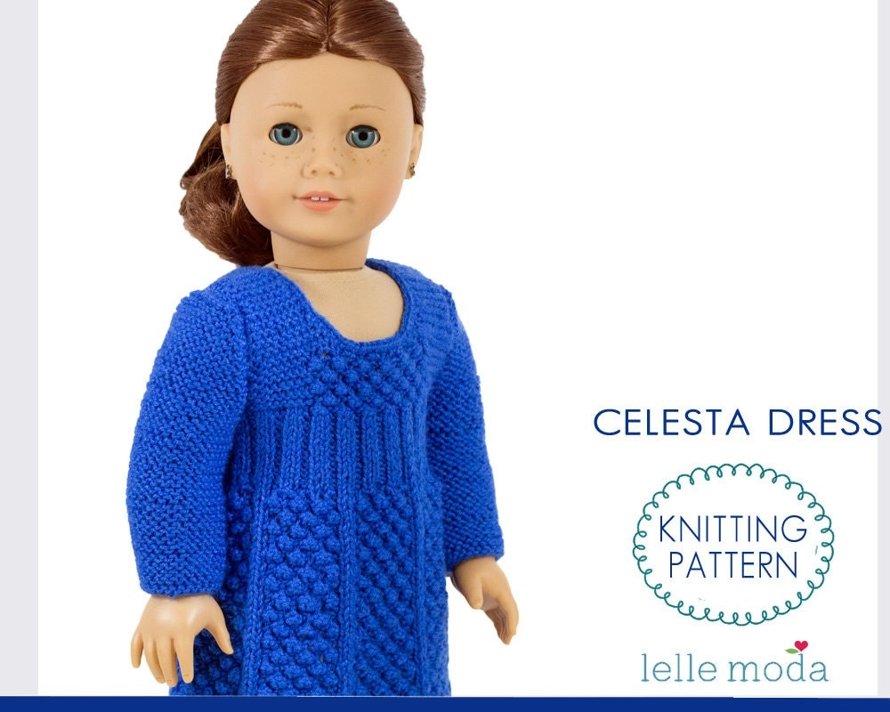 Knitting Pattern 13 Inch Doll : Doll Dress Knitting Pattern Long Sleeve Dress for 18 inch