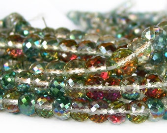 """7"""" / 15"""" 8mm 10mm MICRO Faceted Sahara Green Rainbow half coat AB Extra Sparkle crystal glass rondelle Beads - PICK Size"""